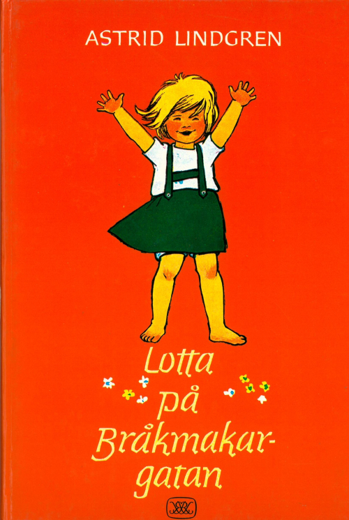 Cover of 'Lotta på Bråkmakargatan' showing Lotta waving her hands in the air