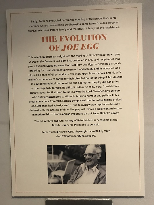 Photograph of Introductory Label to The Evolution of Joe Egg Exhibition
