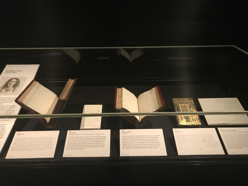 Photograph of George Eliot works in display case in the Treasures Gallery at The British Library