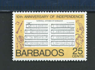 1976 stamp depicting the Barbados national anthem score with wind and percussion instruments surrounding it