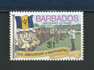 1976 stamp depicting musicians at the Barbados Independence Day Parade
