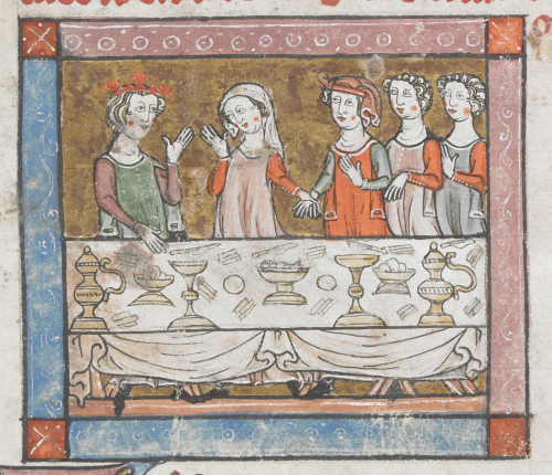 Three women lead Percival by the hand to King Arthur, who is seated at a table