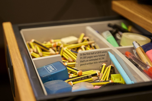 A Foliator's desk drawer