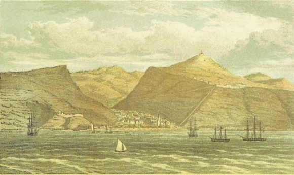View of St Helena from the sea