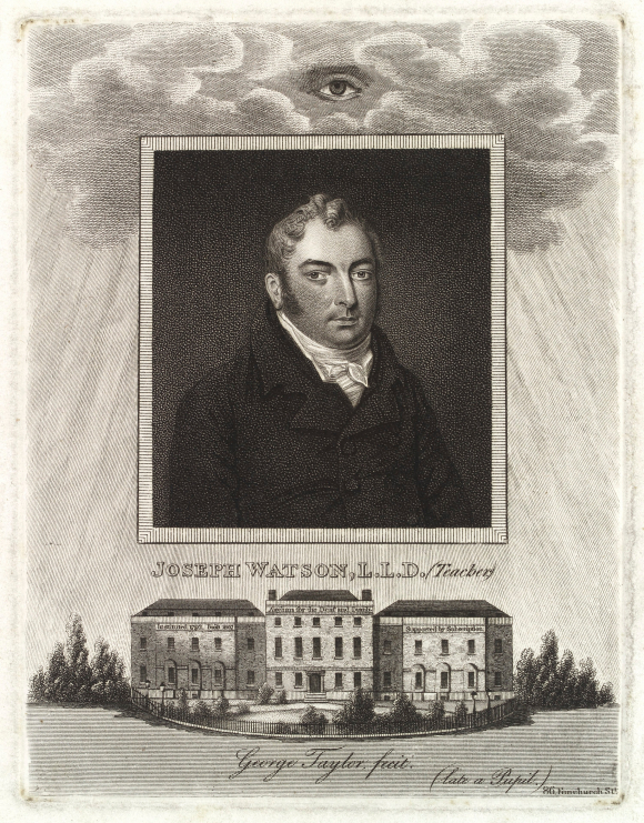 Portrait of Joseph Watson and drawing of the Asylum for the deaf and dumb