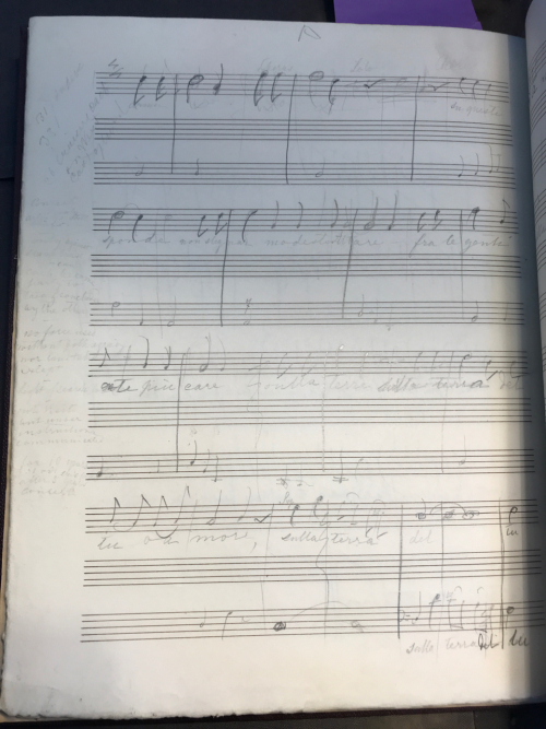 Erased notes in the margins of Prince Albert's sketch for Invocazione all'Armonia