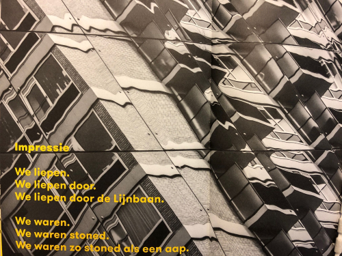Poem on De Lijnbaan featuring an abstract apartment block in the background