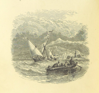 A drawing shows a nineteenth-century rowing boat approaching an endangered sailing ship in a stormy see