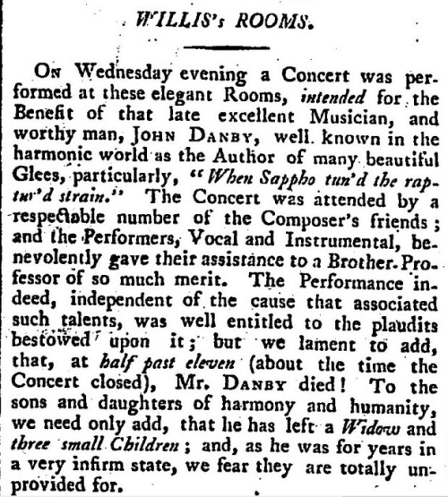 John Danby's death May 1798 reported in True Briton