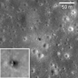 An image of craters on the Moon with a close up of a probe.
