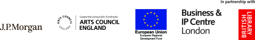 Start-ups in London Libraries (SiLL) project partners. From left to right: JP Morgan Logo, Arts Council England Logo, European Regional Development Fund (ERDF) Logo, along with Business & IP Centre London and the British Library logos