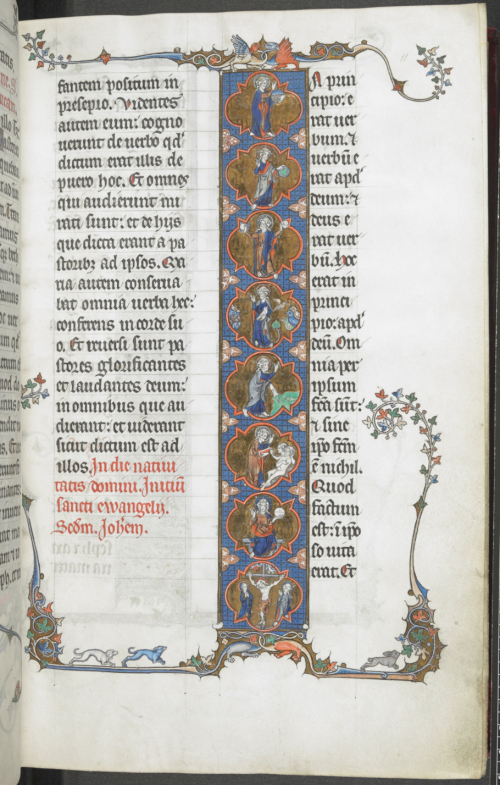 Opening to a text with a large letter I containing eight medallions, the first seven showing scenes from the Creation of the world and the eighth showing the Crucifixion.