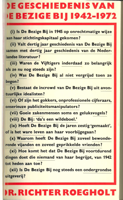 Cover of 'De Geschiedenis van De Bezige Bij', with a list of 12 questions in Dutch about the publishing house