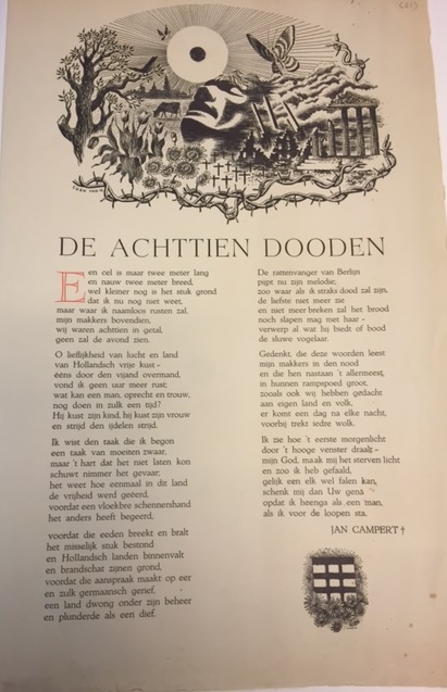 Broadside of the poem 'De Achttien Dooden' with a woodcut header