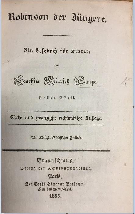 Title-page of Robinson der Jüngere (Braunschweig, 1835).