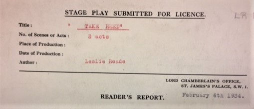 Detail from Take Heed Reader Report