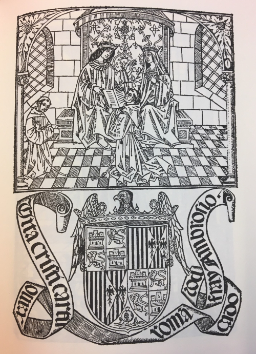 Woodcut of Fray Antonio de Montesino kneeling before Ferdinand and Isabella, the Catholic Monarchs