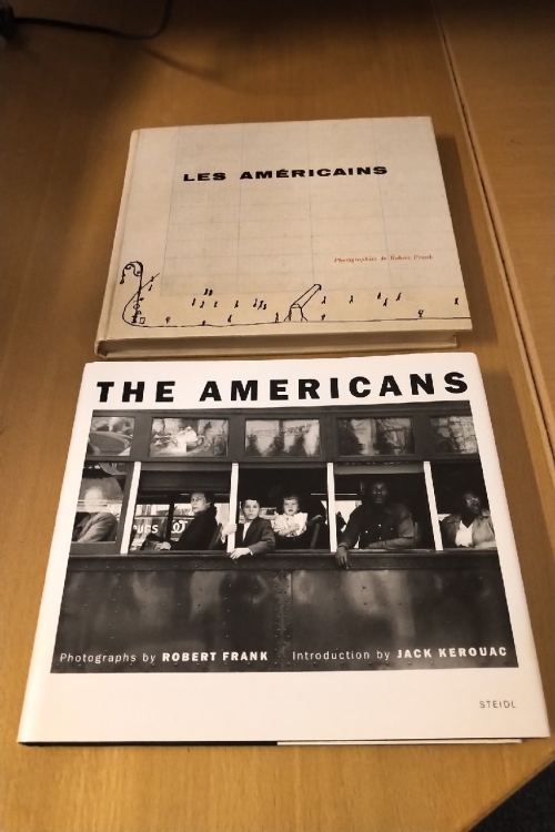Photograph of 'The Americans' 50th anniversary edition, published by Steidl in 2008, next to Library holding of Les Américains