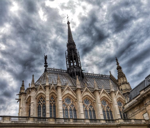 The exterior of Sainte-Chapelle, a magnificent chapel with elaborate Gothic architecture.