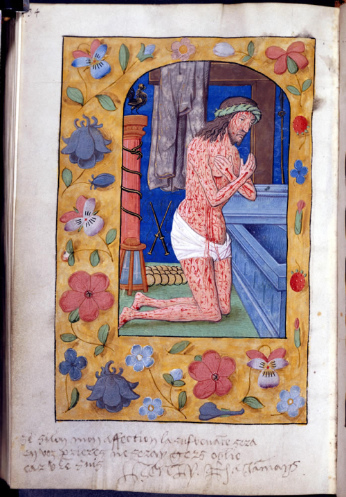 Medieval manuscript with a picture of Christ, covered in bloody wounds, kneeling before his tomb. In the lower margin there is a handwritten note.
