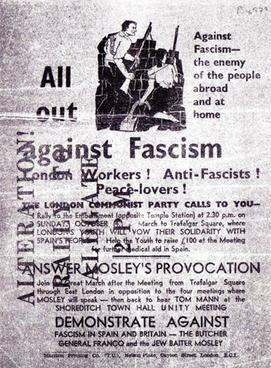 A 1936 CPGB leaflet, altered to read 'rally at Aldgate, 2pm
