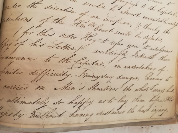 Letter from Edward J. Matthews to the East India Company describing his experiences, dated 29 Jul 1823