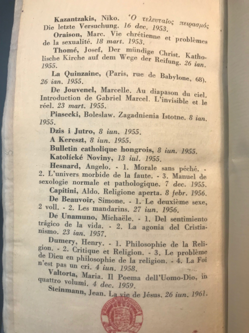 Page from Index Librorum Prohibitorum, 1948
