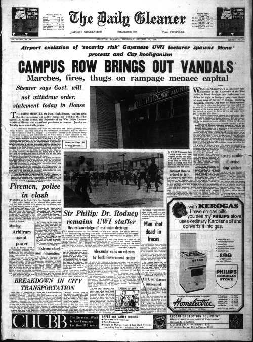 Photograph of front cover of Daily Gleaner with headline 'Campus Row Brings Out Vandals'