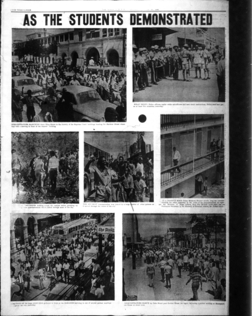Photograph of Daily Gleaner showing student protests