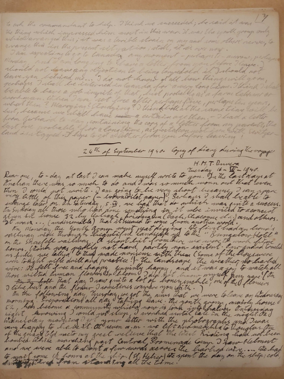 The seventh page of the diary, showing Konrad's journey to HMT Dunera
