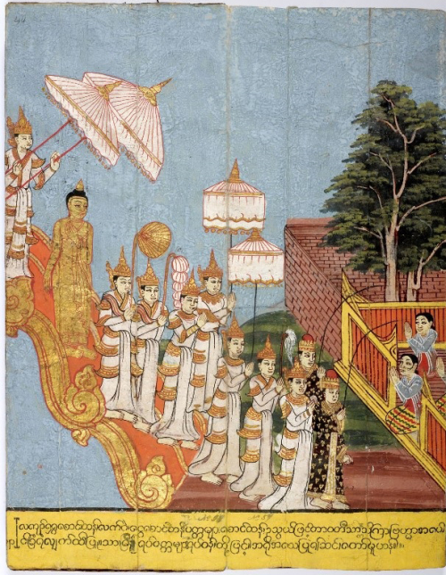 On the full moon day at the end of vassa, the Buddha was ready to descend to the human world.