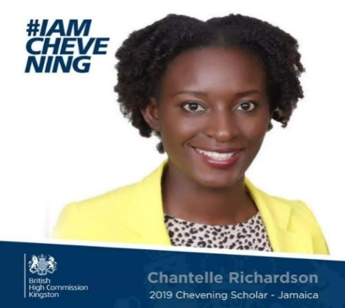 Official Chantelle's portrait as Chevening Fellowship awardee. Chantelle Richardson 2019 Chevening Scholar - Jamaica