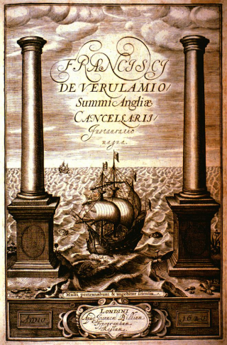 "Title page of Novum Organum naming Bacon in Latin as ""Franc. Baconis de Verulamio"", showing two large square-rigged ships at sea between two classical colums"