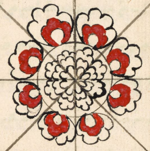 Floral pattern at the centre of a divinatory diagram in a collection of Bugis treatises on medicine and other matters Add_ms_12360_f062r-flower