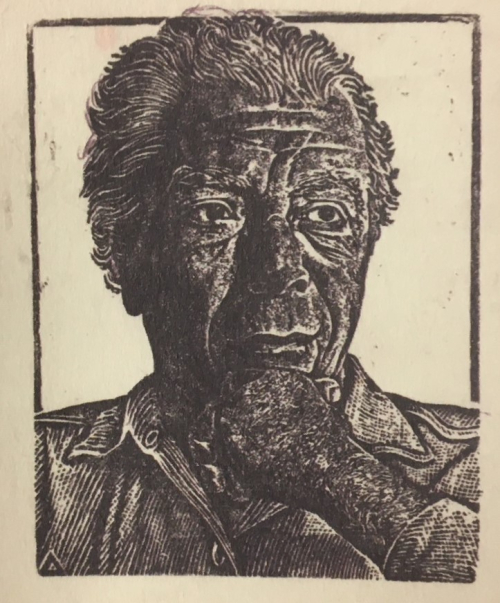 Woodcut portrait of Stratis Tsirkas, ca 1970