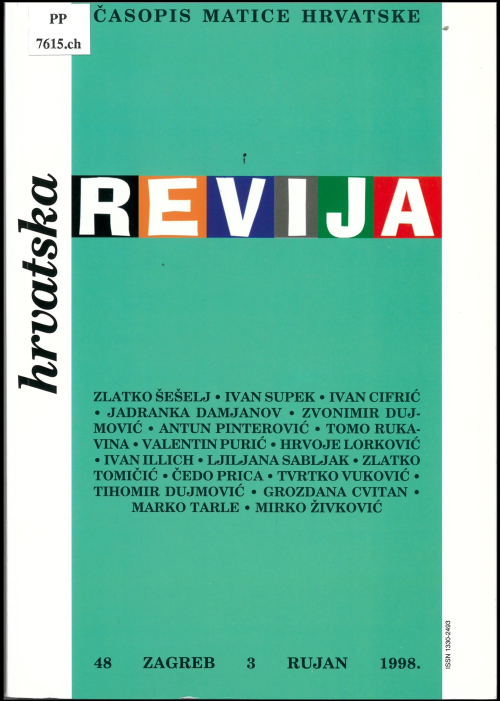 Redesigned front cover of Hrvatska revija (September 1998) featuring the word 'revija' in block letters