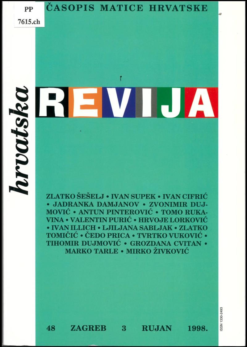 VI Redesigned cover of Hrvatska revija