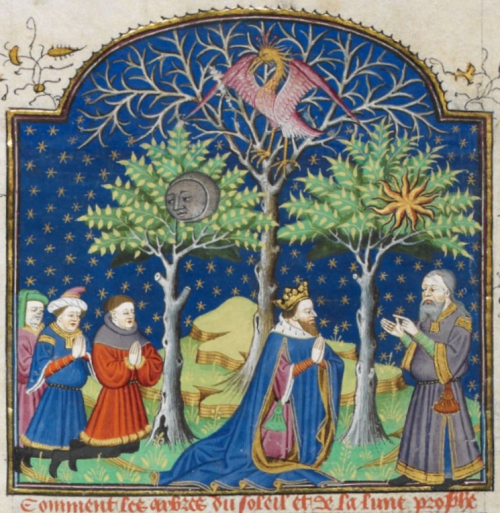 Alexander the Great, wearing a crown, with three of his men behind him, kneeling and with his hands lifted in prayer at the foot of two trees, featuring symbols of the sun and moon among their leaves. Between the two trees is another tree which has no leaves, but features a large bird (a Phoenix) with purple and gold colours in its branches. The trees are flanked by an old man in a grey robe, representing a high priest.