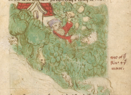 Two priests, one wearing a red tunic, picking and eating apples in the grove of the Trees Sun and the Moon with wild animals emerging from its bushes below, including a lion and an elephant in the right lower corner.