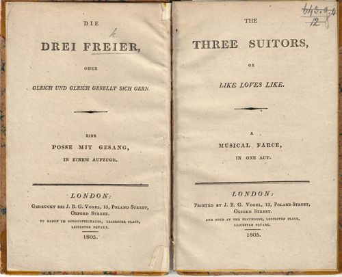 Parallel German and English title pages of the farce 'Die Drei Freier'