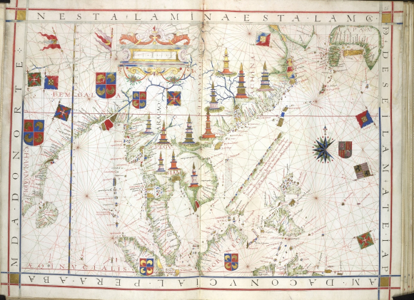 Map by the Portuguese mapmaker Ferdinão Vaz Dourado indicating major cities in East and Southeast Asia, many of which were centres of Buddhist worship and education, dated 1573