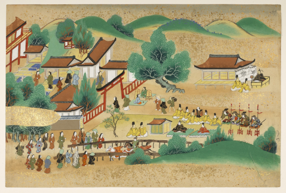Painting of a horse racing contest at the Shinto Kamigamo Shrine in Kyoto, Japan, seventeenth century