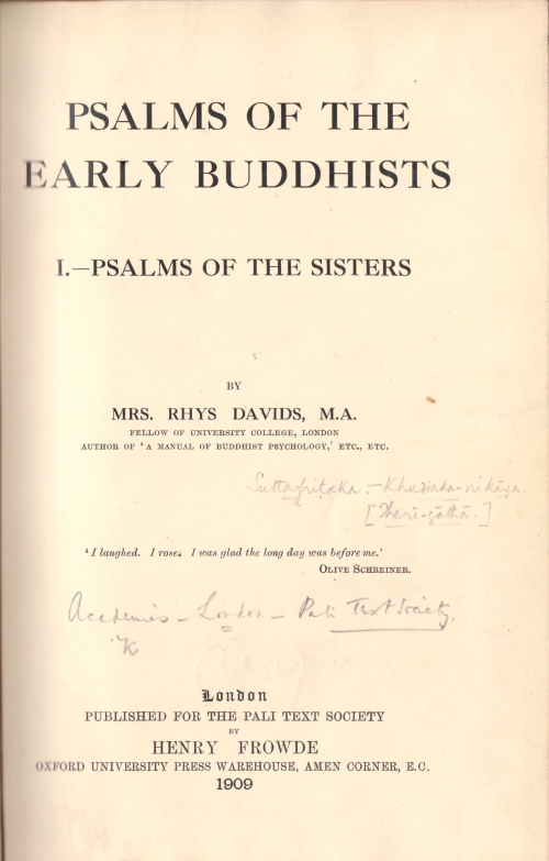 Title page of Caroline Rhys Davids' translation of the Theri-gatha