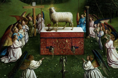 The Adoration of the Mystic Lamb, a panel painting showing a sheep standing on an altar with a stream of blood emitting from its breast into a chalice, surrounded by praying angels