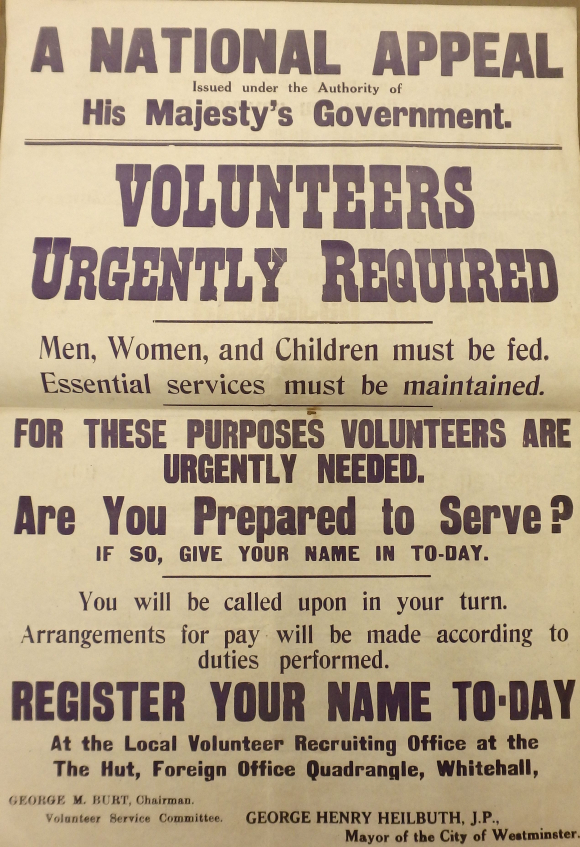 Recruitment poster for volunteers during the General Strike