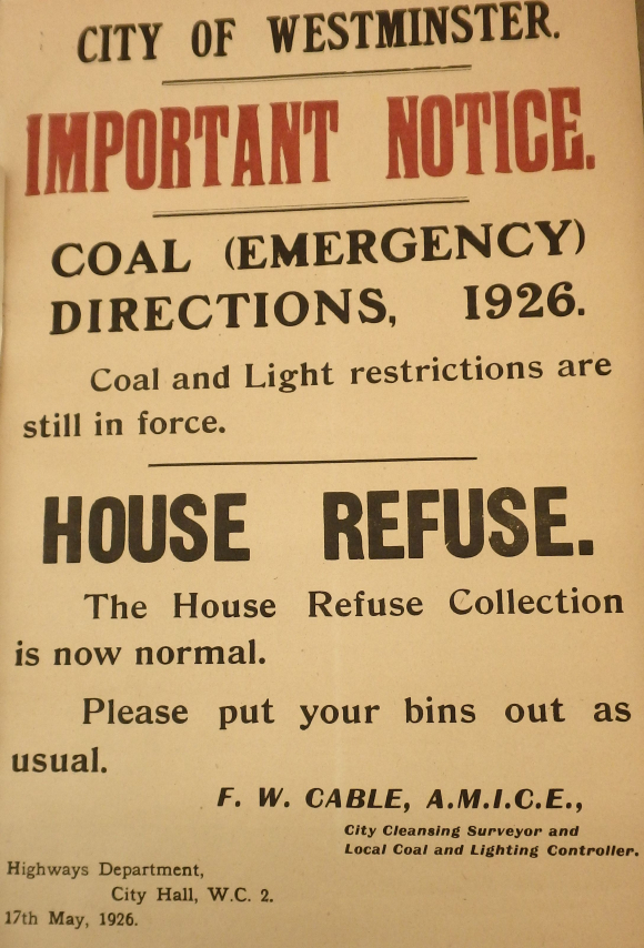 City of Westminster poster about coal and light restrictions and the resumption of household refuse collections