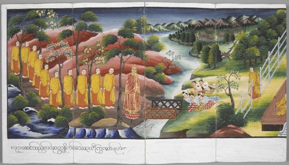 Illustration in a Burmese folding book depicting a scene from the Life of the Buddha, Burma, 19th century. British Library, Or. 13534, ff. 23-24