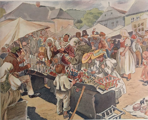 Illustration of a village market scene by Adolf Kašpar from Babička: Obrazy z venkovského života