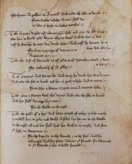 A page with medical recipes written in brown ink from Harley MS 6816