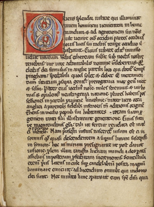 A page from The Book of St Gilbert with a puzzle initial with foliate motifs in blue and red